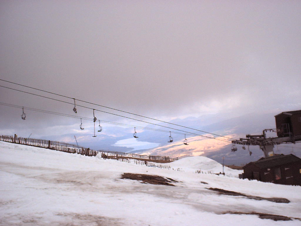 Base of the Goose T-Bar, with quad chair beyond. April 2001