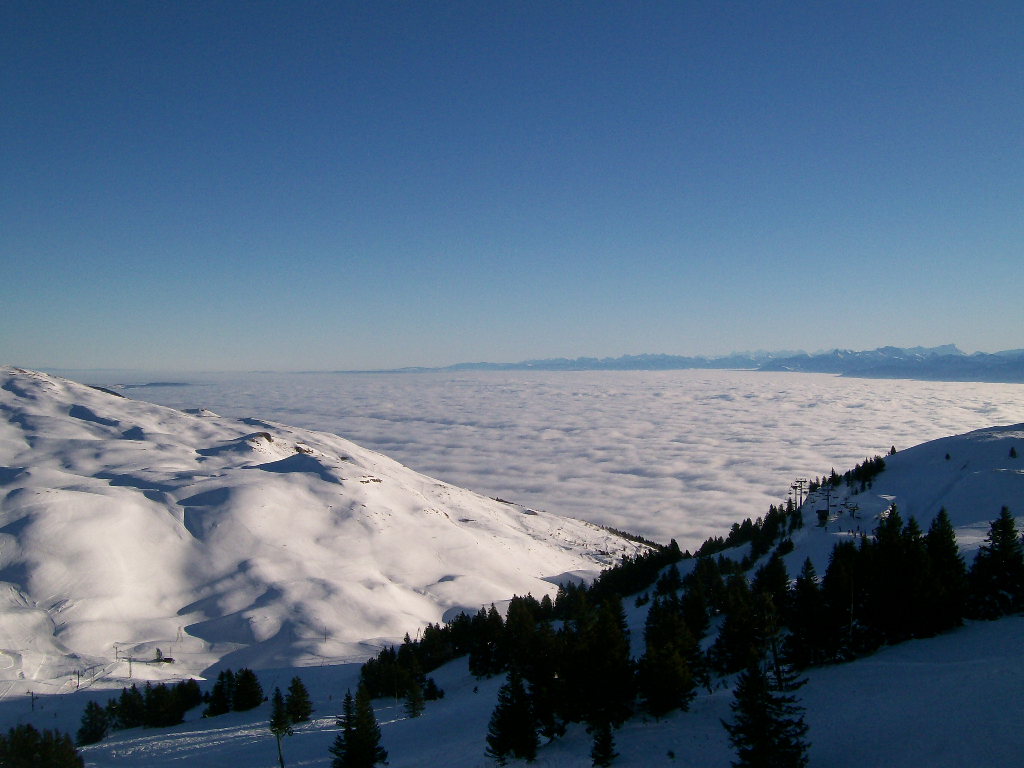 Lelex-Crozet, Le Monts Jura, France. Lake Geneva is under the cloud! Jan 2009.