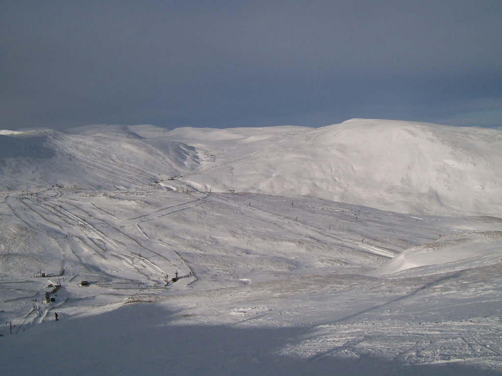 The Cairnwell and the Cluny's from Meall Odhar. Feb 2009.