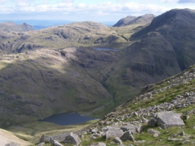 Sty Head Tarn, Sprinkling Tarn and Great End, viewed from Great Gable. Aug 2010.