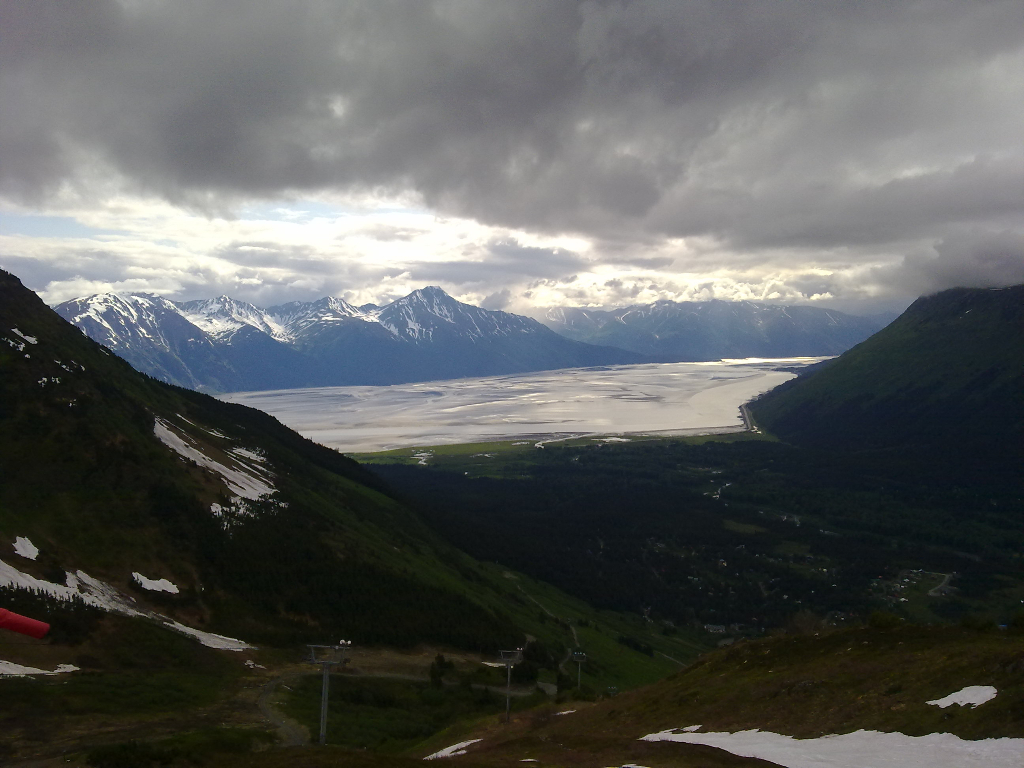 The Turn Again Arm, viewed from the top of the Alyeska Cable Car. June 2011.