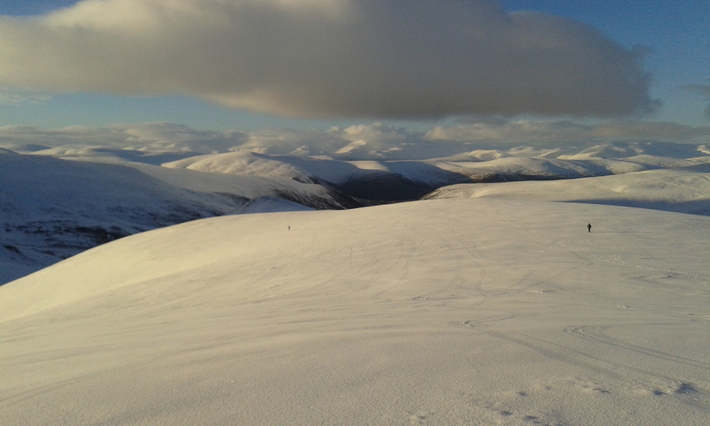 High above the normal run on Glas Maol. Feb 2014.