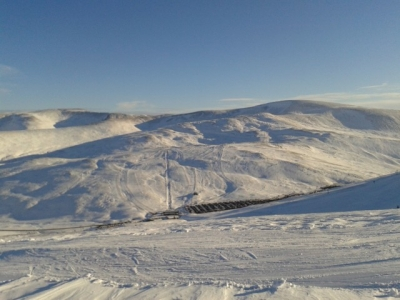 Sunnyside, Meall Odhar and Glas Maol from the top of the Cairnwell T-Bar. Jan 2015.