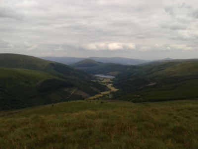 Tal-y-Bont Reservoir from Pant y Creigiuau, Brecon Beacons, Aug 2015.