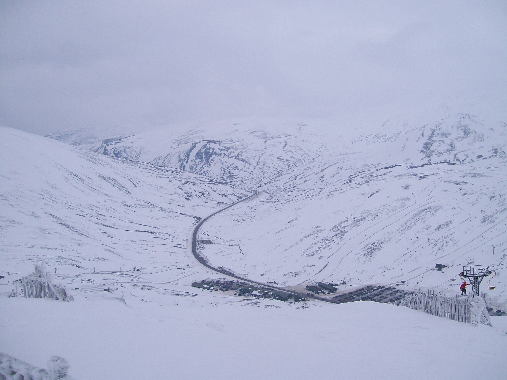 View from the top of the Cairnwell, Feb 2010.