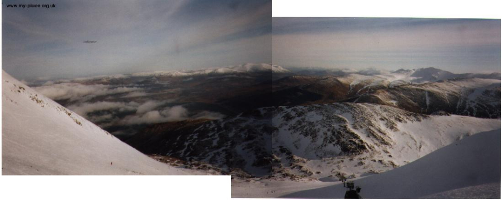 Looking down Corrie Dubh at the Braveheart chairlift. Feb 1999