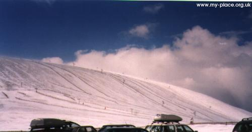 Looking north from the car park, towards Beinn a' Chruinich, Easter 1998