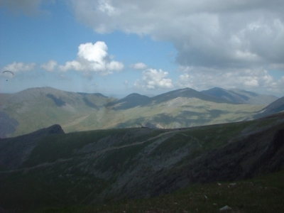 Looking a the Snowdon Mountain Railway from the Snowdon Range path, May 2004. North Wales.