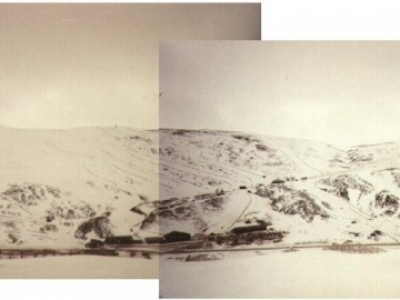 View of Cairnwell (far left) and Carn Aosda (far right) from top of Sunnyside. March 1996